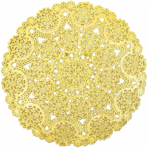 "60pcs Medallion Gold Round 10"" Paper Doilies Lace for Art Wedding Table Décor Perspective: front"
