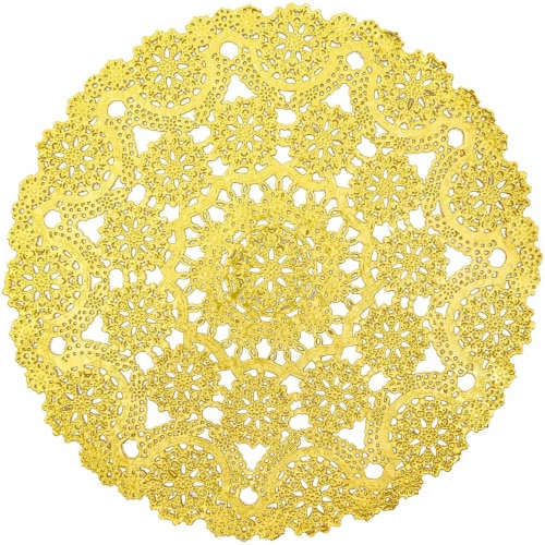 "60pcs Medallion Gold Round 12"" Paper Doilies Lace for Art Craft Table Decor Perspective: front"