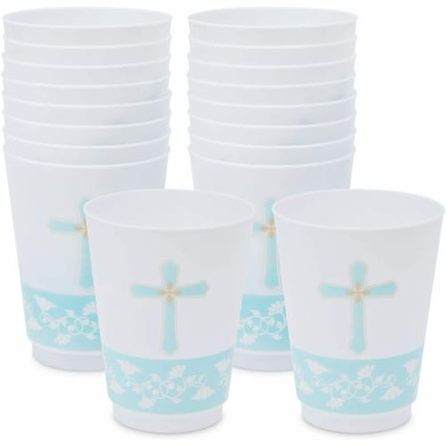 16 oz Baptism Tumbler Cups, First Communion Decorations, Party Supplies (16 Pack) Perspective: front