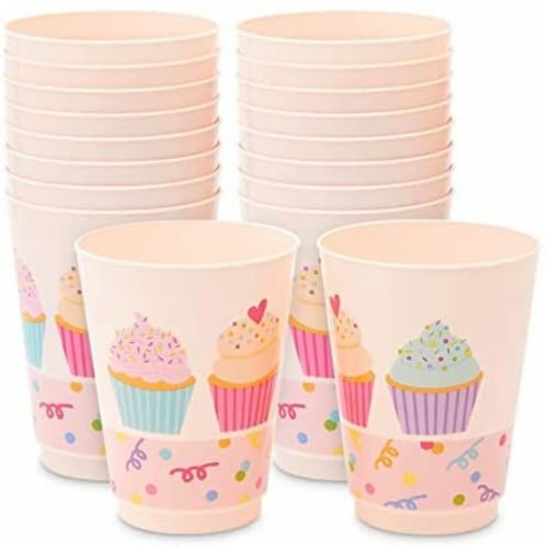 Pink Plastic Tumbler Cups, Cupcake Party Decorations (16 oz, 16 Pack) Perspective: front