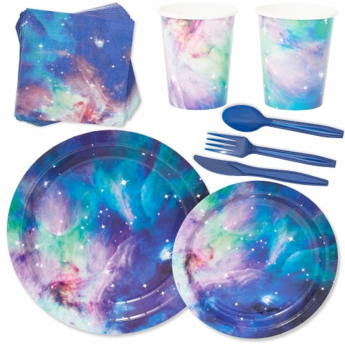 Galaxy Party Pack, Paper Plates, Plastic Cutlery, Cups, and Napkins (Serves 24, 168 Pieces) Perspective: front