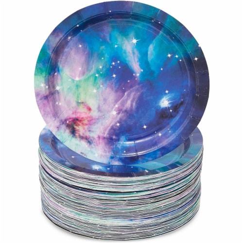 Galaxy Paper Plates for Outer Space Party (7 In, 80 Pack) Perspective: front