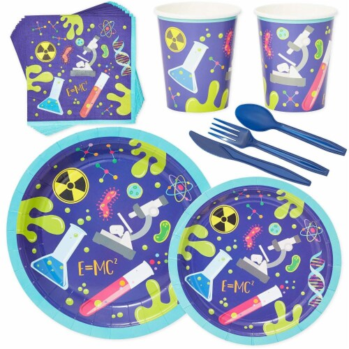 Science Lab Party Pack, Paper Plates, Cutlery, Cups, and Napkins (Serves 24, 168 Pieces) Perspective: front