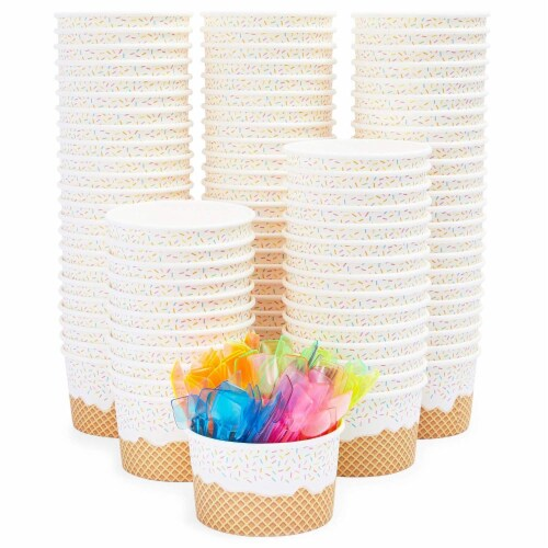 100 Serve Disposable Paper Cup Dessert Ice Cream Yogurt Bowls with Neon Spoons Perspective: front