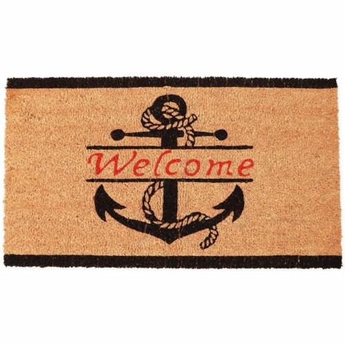 Nautical Anchor Welcome Mat for Front Door, Natural Coir Doormat (30 x 17 in) Perspective: front
