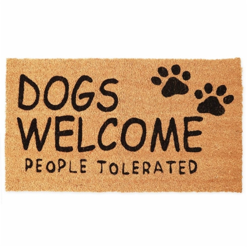Dogs Welcome People Tolerated Welcome Mat, Natural Coir Doormat (30 x 17 in) Perspective: front