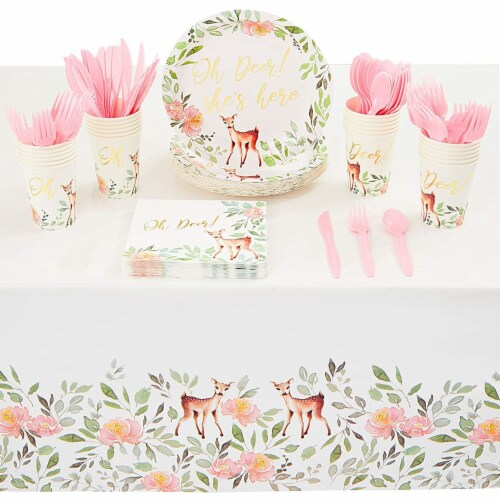 Oh Deer Dinnerware Set with Gold Foil for Baby Shower (Serves 24, 145 Pieces) Perspective: front