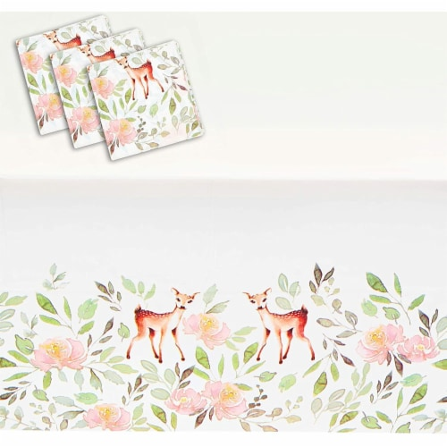 Oh Deer Party Table Covers for Girls Baby Shower (54 x 108 in, 3 Pack) Perspective: front