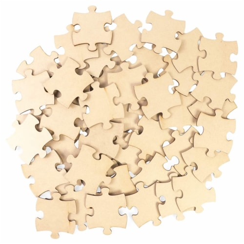 "50 Pieces Unfinished Wooden Puzzle Pieces Cutouts for DIY Craft, 3 x 3.5"" Perspective: front"