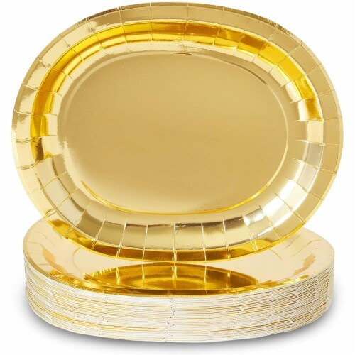 Oval Serving Platters for Parties, Gold Foil Paper Tray (12.5 x 10 In, 48 Pack) Perspective: front