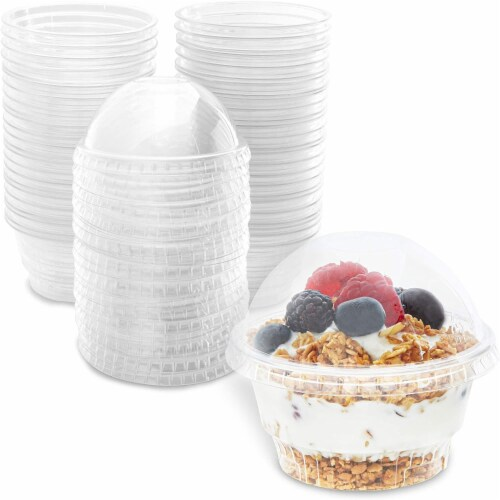 Clear Plastic Ice Cream and Yogurt Cups with Dome Lids (5 oz, 50 Pack) Perspective: front