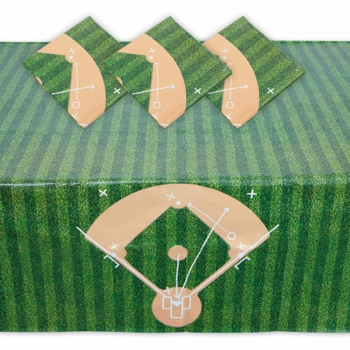 Baseball Tablecloth Birthday Party Plastic Table Cover (54 x 108 in, 3 Pack) Perspective: front