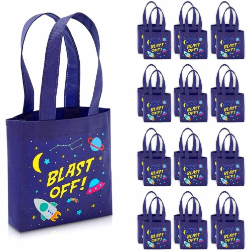 Outer Space Party Favor Tote Bags, Blast Off (6.5 x 7 x 1.77 In, 24 Pack) Perspective: front