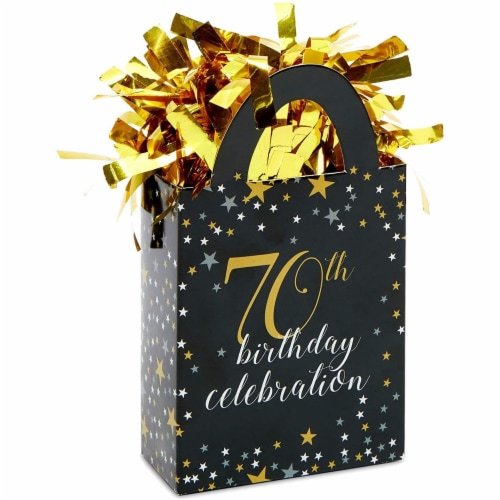 70th Birthday Party Balloon Weights, Black and Gold Decorations (6 oz, 6 Pack) Perspective: front