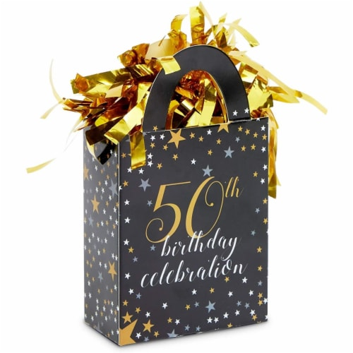 50th Birthday Party Balloon Weights, Black and Gold Decorations (6 oz, 6 Pack) Perspective: front