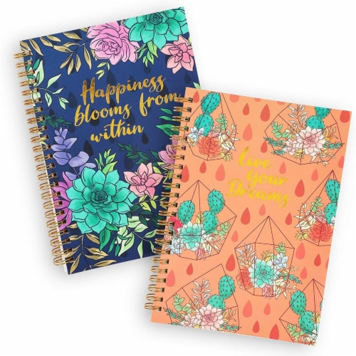 Gold Foil Succulent Spiral Bound Journal Notebooks (8.25 x 6.15 in, Set of 2) Perspective: front