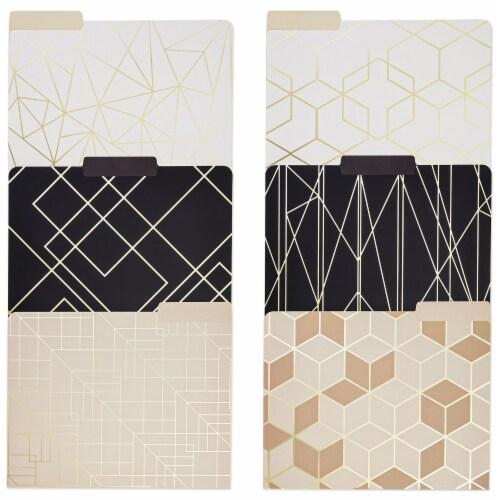 Decorative File Folders, 1/3 Cut Tab, Letter Size, Gold Foil Geometric (12 Pack) Perspective: front