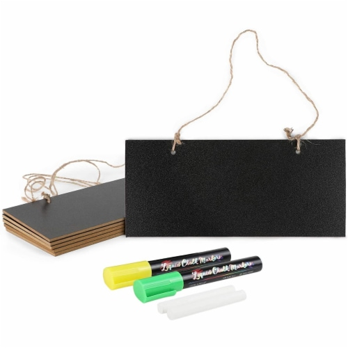 Mini Hanging Chalkboard Signs with Liquid Chalk Markers, Sticks (10 Pieces) Perspective: front