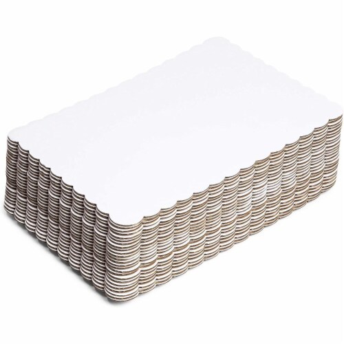 White Foil Cake Boards, Scalloped Rectangle Dessert Base (14 x 10 In, 25 Pack) Perspective: front