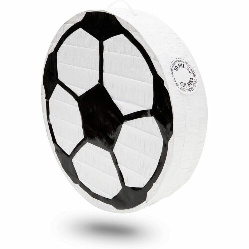 Soccer Ball Pinata for Birthday Party Decorations (12.8 x 12.8 x 3 Inches) Perspective: front