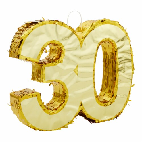 Gold Foil Pinata for 30th Birthday Party (16.5 x 13 In) Perspective: front
