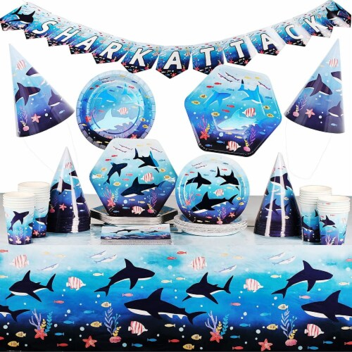 Shark Party Dinnerware, Banner, Plastic Tablecloth, Hats (Serves 24, 123 Pieces) Perspective: front