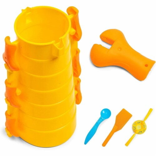 Snow Fort Block Maker, Kids Winter Toys (Yellow, 10 Piece Set) Perspective: front