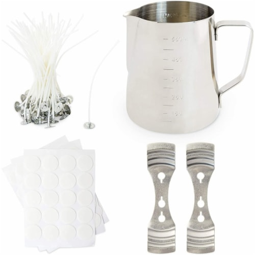 DIY Candle Making Kit with Measuring Pot, Wicks, Stickers, Wick Holders (123 Pieces) Perspective: front