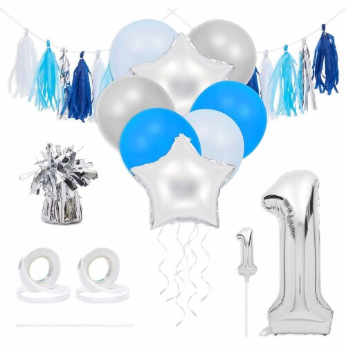 Blue & Silver Boy 1st Birthday Party Decorations, Balloons, Cake Topper and Tassels Perspective: front