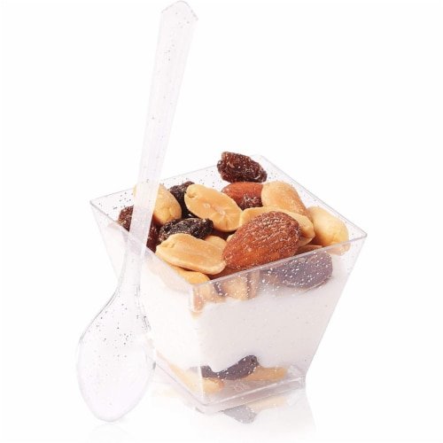 100 Silver Glitter Mini Dessert Cups with 100 Spoons (2 oz) Perspective: front