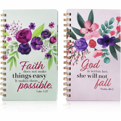 Spiral Notebook with Scripture (5 x 8.5 in, 2 Pack) Perspective: front