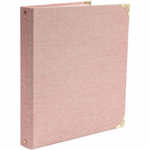 Pink Binder, Linen 3 Ring Binder, File Folder with Gold Hardware (1.5 in) Perspective: front