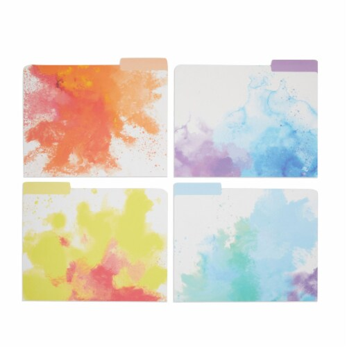 Rainbow Decorative File Folders, 1/3 Cut Tab, Letter Size, Watercolor (12 Pack) Perspective: front