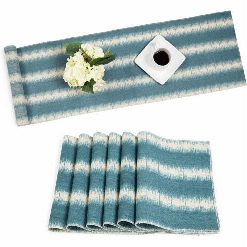 Striped Dining Table Runner and Placemats, Set of 6 (7 Pieces) Perspective: front