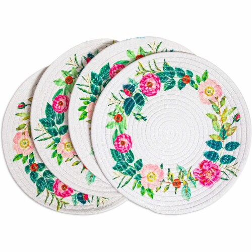 Okuna Outpost Round Cotton Placemats with Floral Wreath (13 in, 4 Pack) Perspective: front