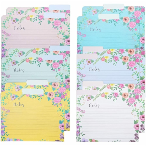 Decorative File Folders, 1/3 Cut Tab, Letter Size, Floral Notes Section (12 Pack) Perspective: front