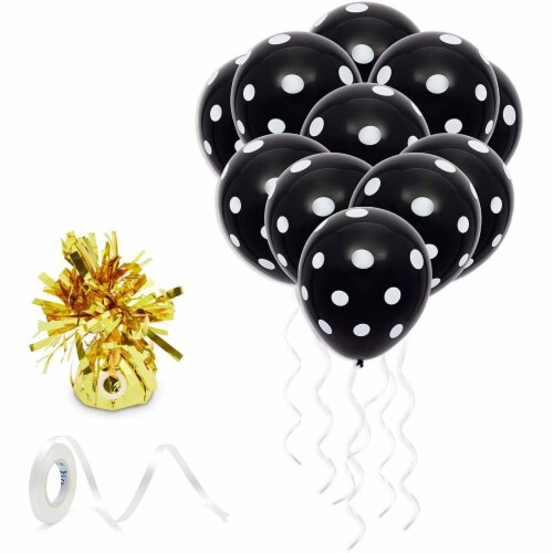 50 Pack Polka Dot Balloons with 1 Gold Balloon Weight and String (Black and White) Perspective: front