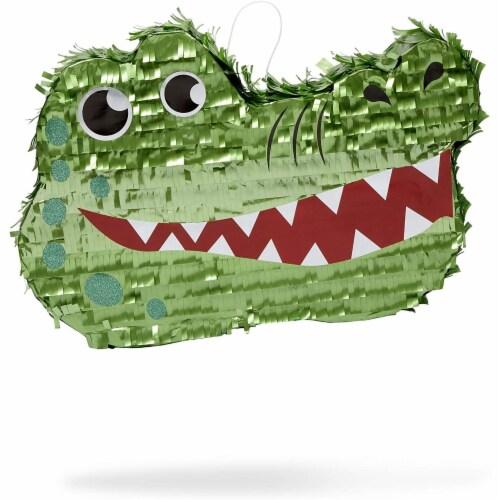 Small Alligator Piñata for Kids Safari Birthday Party (16.5 x 11.5 x 3 Inches) Perspective: front