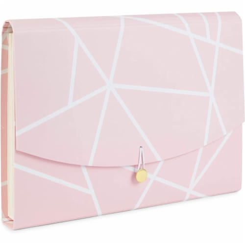 Expanding File Folder with10 Pockets, Pink Geometric (Letter Size) Perspective: front
