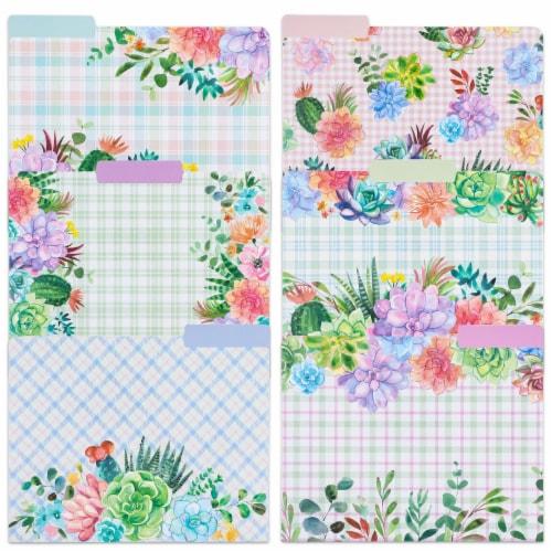 Decorative File Folders, Cactus Succulents, 1/3 Cut Tab, Letter Size (12 Pack) Perspective: front