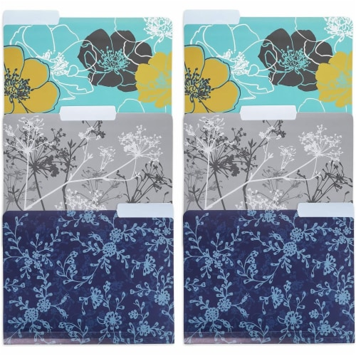 Plastic File Cabinet Folders 1/3 Cut Tab, Floral Designs (Letter Size, 6 Pack) Perspective: front