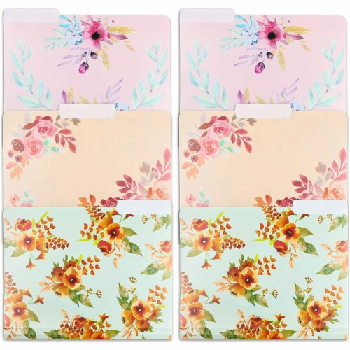 Plastic Floral File Folders, 1/3 Cut Tabs (Letter Size, 6 Pack) Perspective: front