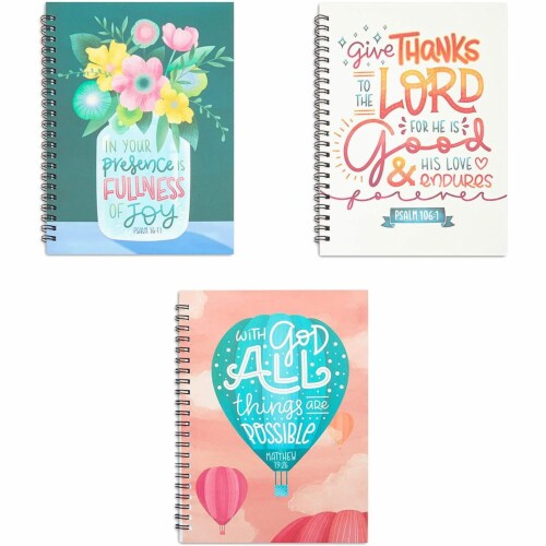 Christian Inspirational Journals, Spiral Bound Notebooks (6 x 8 in, 3 Pack) Perspective: front