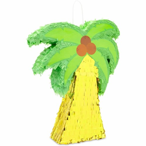 Tropical Palm Tree Luau Piñata for Summer Birthday Party (16.5 x 13 In) Perspective: front