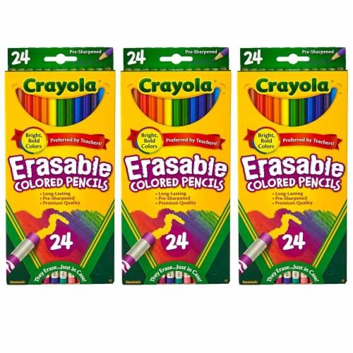 Erasable Colored Pencils, 24 Per Box, 3 Boxes Perspective: front