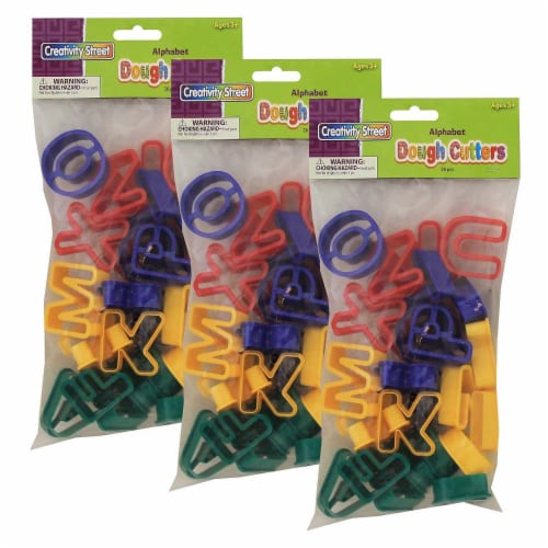 Dough & Clay Cutter Set, Capital Letters, 1-9/16 , 26 Pieces Per Pack, 3 Packs Perspective: front