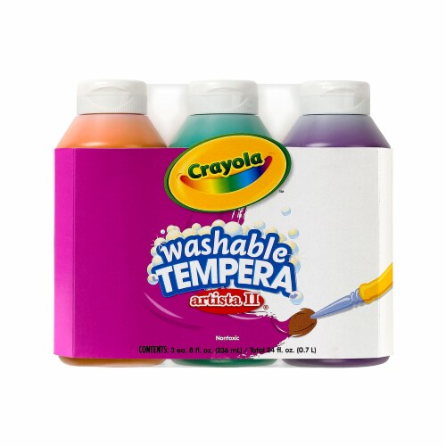Crayola BIN543182-4 3-8 oz Artista II Tempera Secondary Color Set Washable Paint - Pack of 4 Perspective: front
