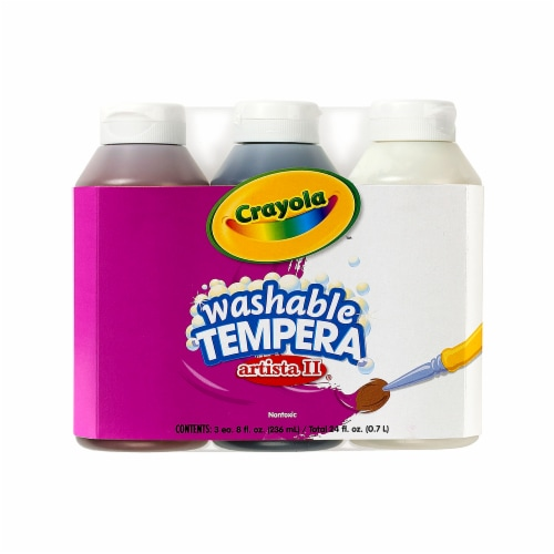 Crayola BIN543183-4 3 - 8 oz Artista II Tempera Neutral Color Set Washable Paint - Pack of 4 Perspective: front