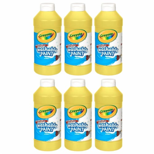 Crayola BIN201634-6 16 oz Washable Paint, Yellow - 6 Each Perspective: front