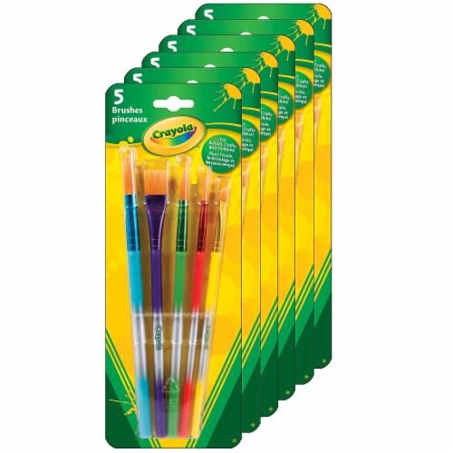 Arts & Crafts Brushes, 5 Per Set, 6 Sets Perspective: front